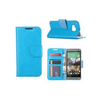 Luxe Lederen Bookcase hoesje voor de HTC One M9 - Lichtblauw