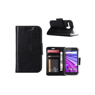Luxe Lederen Bookcase hoesje voor de Motorola Moto G - Zwart