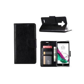Luxe Lederen Bookcase hoesje voor de LG G4 - Zwart