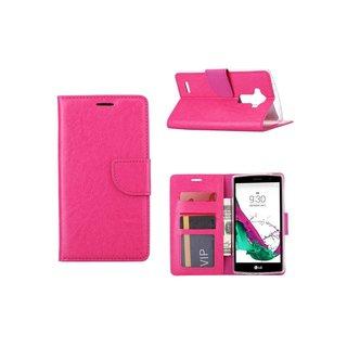 Luxe Lederen Bookcase hoesje voor de LG G4 - Roze