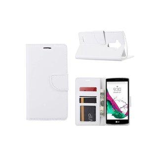 Luxe Lederen Bookcase hoesje voor de LG G4 - Wit