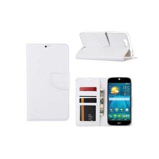 Luxe Lederen Bookcase hoesje voor de Acer Liquid Jade S - Wit