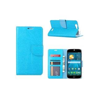 Luxe Lederen Bookcase hoesje voor de Acer Liquid Jade S - Blauw