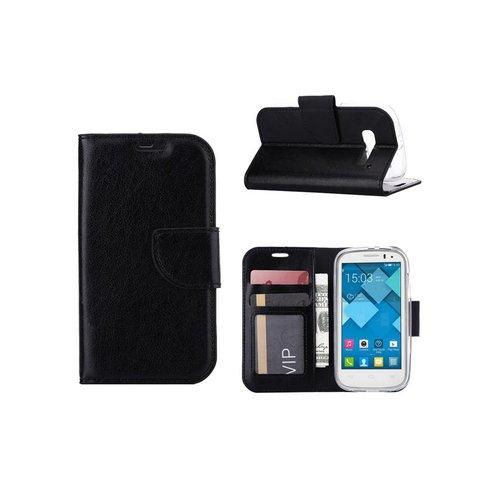 Bookcase Alcatel One Touch Pop C5 hoesje - Zwart