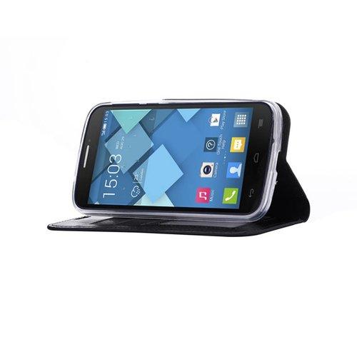 Bookcase Alcatel One Touch Pop C7 hoesje - Zwart