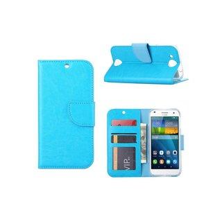 Luxe Lederen Bookcase hoesje voor de Huawei Ascend G7 - Blauw