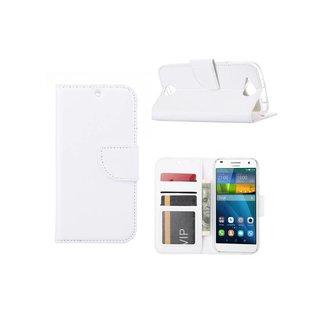 Luxe Lederen Bookcase hoesje voor de Huawei Ascend G7 - Wit