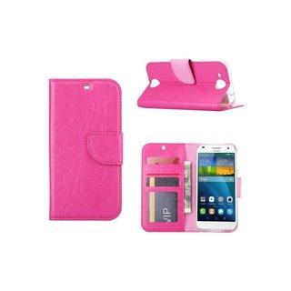 Luxe Lederen Bookcase hoesje voor de Huawei Ascend G7 - Roze