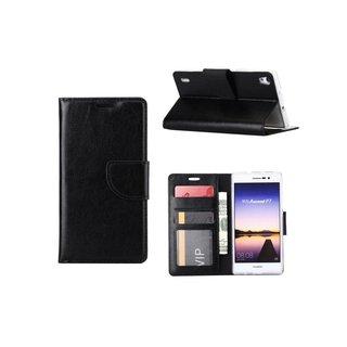 Luxe Lederen Bookcase hoesje voor de Huawei Ascend P7 - Zwart