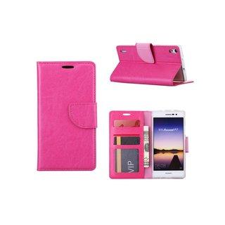 Luxe Lederen Bookcase hoesje voor de Huawei Ascend P7 - Roze