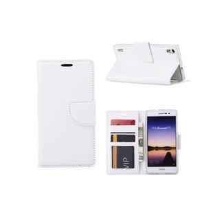 Luxe Lederen Bookcase hoesje voor de Huawei Ascend P7 - Wit