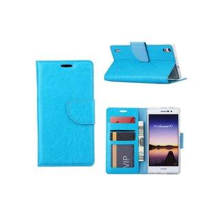 Luxe Lederen Bookcase hoesje voor de Huawei Ascend P7 - Blauw