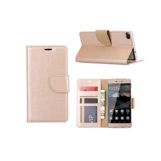 Bookcase Huawei P8 hoesje - Goud