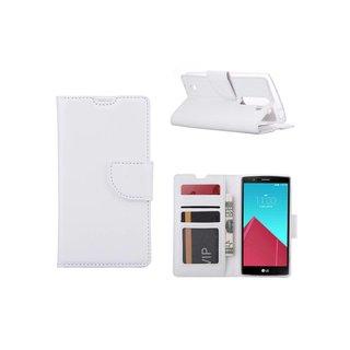 Luxe Lederen Bookcase hoesje voor de LG G4 Mini Compact - Wit