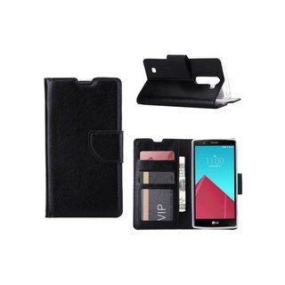 Luxe Lederen Bookcase hoesje voor de LG G4 Mini Compact - Zwart