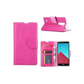 Luxe Lederen Bookcase hoesje voor de LG G4 Mini Compact - Roze