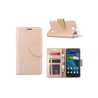Luxe Lederen Bookcase hoesje voor de Huawei Ascend Y635 - Goud