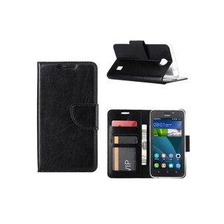 Luxe Lederen Bookcase hoesje voor de Huawei Ascend Y635 - Zwart