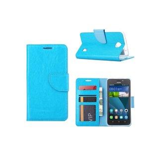 Luxe Lederen Bookcase hoesje voor de Huawei Ascend Y635 - Blauw