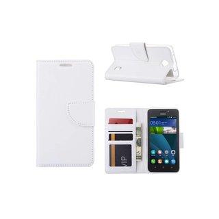 Luxe Lederen Bookcase hoesje voor de Huawei Ascend Y635 - Wit