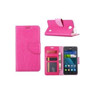 Luxe Lederen Bookcase hoesje voor de Huawei Ascend Y635 - Roze