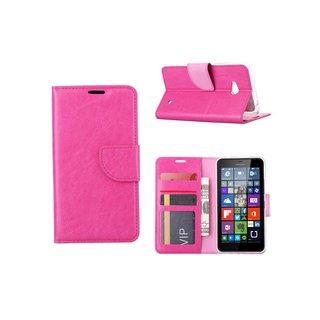 Luxe Lederen Bookcase hoesje voor de Nokia Lumia N640 / Microsoft Lumia 640 - Roze