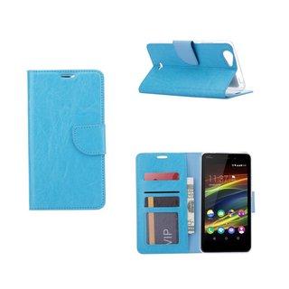 Luxe Lederen Bookcase hoesje voor de Wiko Slide 2 - Blauw