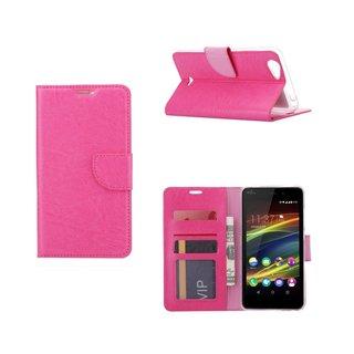 Luxe Lederen Bookcase hoesje voor de Wiko Slide 2 - Roze