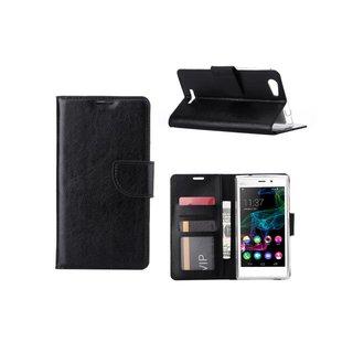 Luxe Lederen Bookcase hoesje voor de Wiko Ridge Fab 4G - Zwart