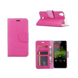 Bookcase Wiko Rainbow Up 4G hoesje - Roze