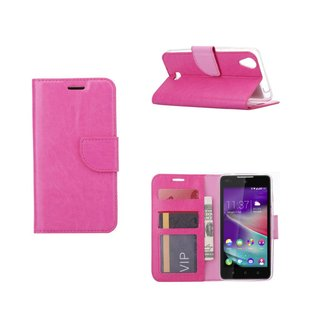 Luxe Lederen Bookcase hoesje voor de Wiko Rainbow Lite 4G - Roze