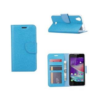 Luxe Lederen Bookcase hoesje voor de Wiko Rainbow Lite 4G - Blauw