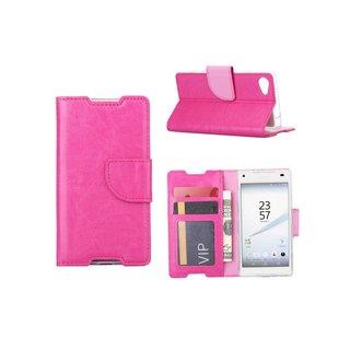 Luxe Lederen Bookcase hoesje voor de Sony Xperia Z5 Compact - Roze