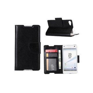 Luxe Lederen Bookcase hoesje voor de Sony Xperia Z5 Compact - Zwart