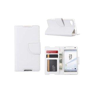 Luxe Lederen Bookcase hoesje voor de Sony Xperia Z5 Compact - Wit