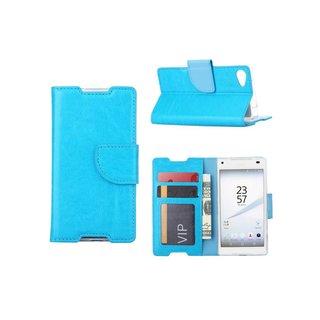 Luxe Lederen Bookcase hoesje voor de Sony Xperia Z5 Compact - Blauw
