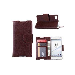 Luxe Lederen Bookcase hoesje voor de Sony Xperia Z5 Compact - Bruin