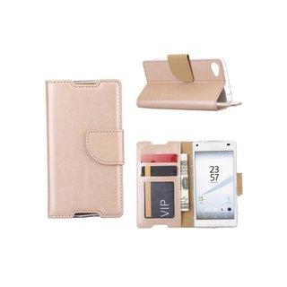 Luxe Lederen Bookcase hoesje voor de Sony Xperia Z5 Compact - Goud