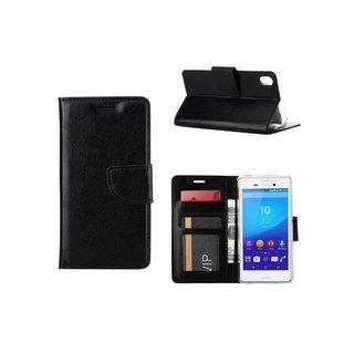 Luxe Lederen Bookcase hoesje voor de Sony Xperia M4 Aqua - Zwart