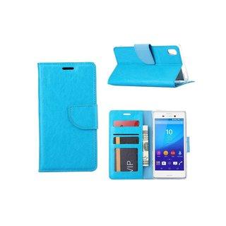 Luxe Lederen Bookcase hoesje voor de Sony Xperia M4 Aqua - Blauw