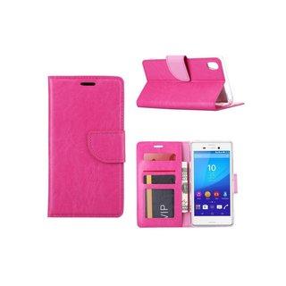 Luxe Lederen Bookcase hoesje voor de Sony Xperia M4 Aqua - Roze