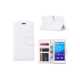 Luxe Lederen Bookcase hoesje voor de Sony Xperia M4 Aqua - Wit