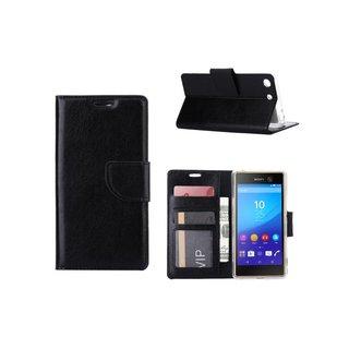 Luxe Lederen Bookcase hoesje voor de Sony Xperia M5 - Zwart