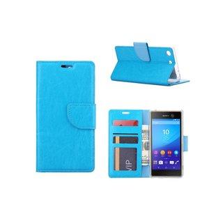 Luxe Lederen Bookcase hoesje voor de Sony Xperia M5 - Blauw