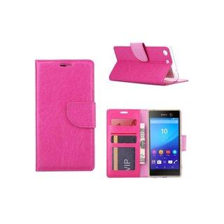 Luxe Lederen Bookcase hoesje voor de Sony Xperia M5 - Roze