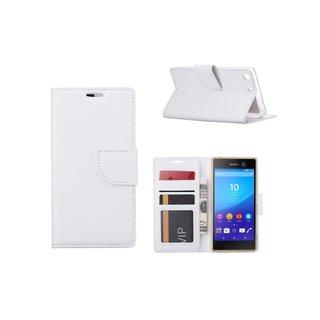 Luxe Lederen Bookcase hoesje voor de Sony Xperia M5 - Wit