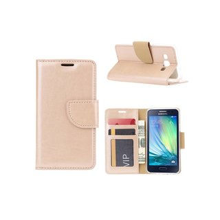 Bookcase Samsung Galaxy A3 hoesje - Goud
