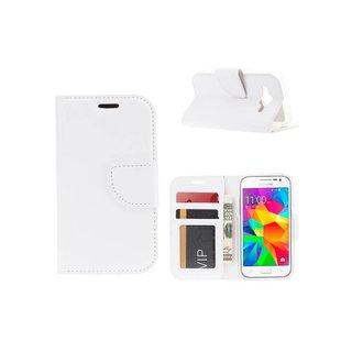 Luxe Lederen Bookcase hoesje voor de Samsung Galaxy Core Prime G360 - Wit