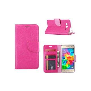 Luxe lederen Bookcase hoesje voor de Samsung Galaxy Grand Prime G530F - Roze