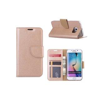 Luxe Lederen Bookcase hoesje voor de Samsung Galaxy S6 Edge - Goud